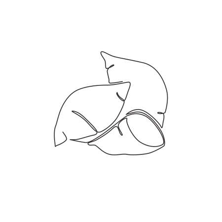 Single continuous line drawing whole healthy organic sweet potato for orchard logo identity. Fresh ipomoea batatas concept for botanically icon. Modern one line draw design vector graphic illustration Иллюстрация