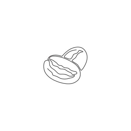 Single continuous line drawing of whole healthy organic coffee bean for cafe logo identity. Fresh aromatic been concept for coffee shop icon. Modern one line draw design vector graphic illustration