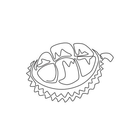 Single continuous line drawing half sliced healthy organic durian for orchard logo identity. Fresh spiky fruitage concept for fruit garden icon. Modern one line draw design vector graphic illustration
