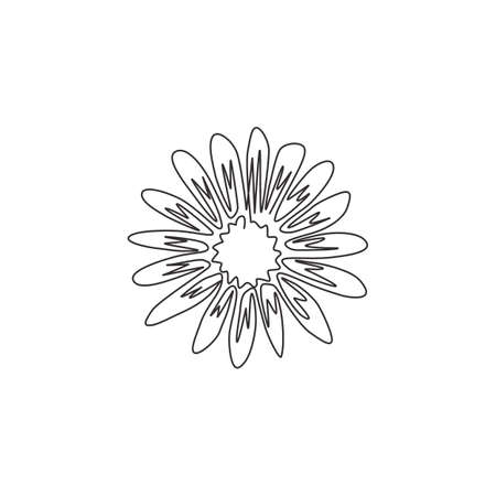 One continuous line drawing of beauty fresh astereae, top view for home decor wall art poster. Decorative aster flower for fashion fabric textile. Modern single line draw design vector illustration