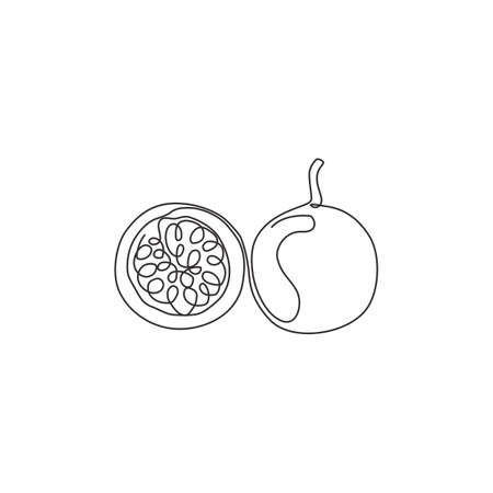 One continuous line drawing whole healthy organic passion fruit for orchard logo identity. Fresh summer fruits concept for fruit garden icon. Modern single line draw design graphic vector illustration Stock Illustratie