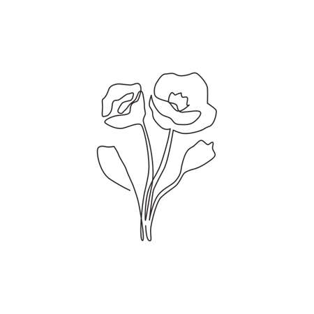 One continuous line drawing beauty fresh herbaceous plant for home decor wall poster. Printable decorative poppy flower for greeting card ornament. Modern single line draw design vector illustration Ilustração