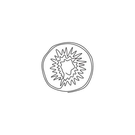 One continuous line drawing half sliced healthy organic for orchard logo identity. Fresh round tropical fruits concept for fruit garden icon. Modern single line draw graphic design vector illustration