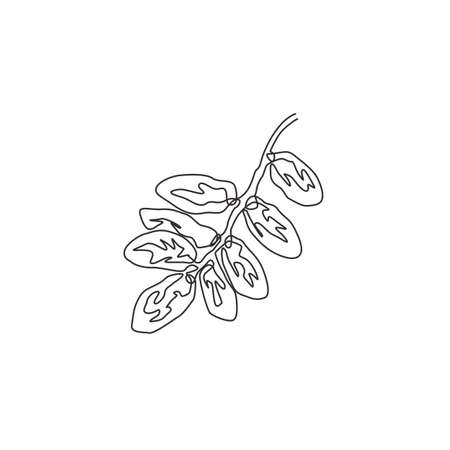 Single continuous line drawing stack healthy organic fruit dates for orchard logo identity. Saudi Arabia fruitage concept for fruit garden icon. Modern one line draw design vector graphic illustration