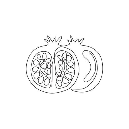 One continuous line drawing of whole and half sliced healthy organic pomegranate for orchard logo identity. Fresh seed concept for fruit garden icon. Modern single line draw design vector illustration