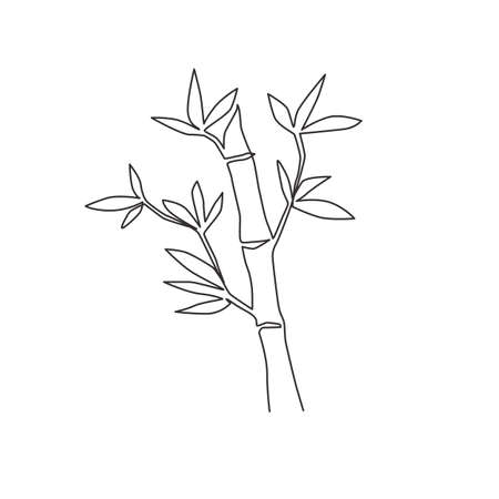 One single line drawing of bamboo trees for plantation logo identity. Fresh evergreen perennial flowering plant concept for plant icon. Modern continuous line graphic draw design vector illustration