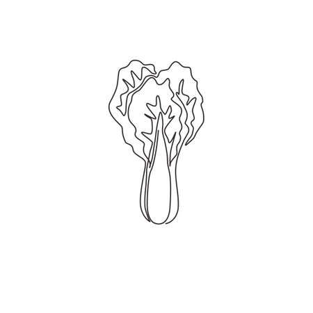 One continuous line drawing of whole healthy organic mustard green leaves for farm logo identity. Fresh mustard cabbage concept for vegetable icon. Modern single line draw design vector illustration