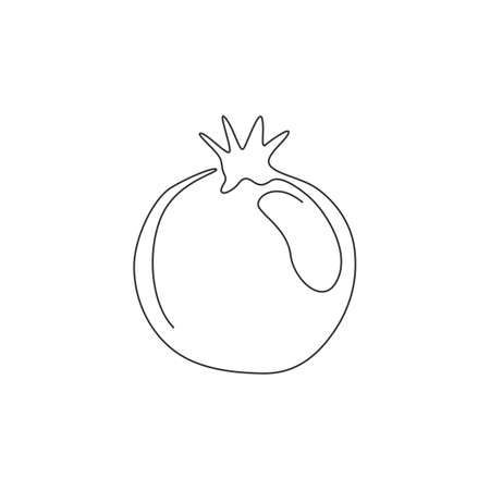 One single line drawing whole healthy organic pomegranate for orchard logo identity. Fresh fruitage seeds concept for fruit garden icon. Modern continuous line draw design vector graphic illustration