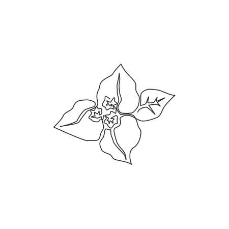 One continuous line drawing of beauty fresh bougainville for garden logo. Printable decorative thorny tree flower concept for home wall decor print. Modern single line draw design vector illustration