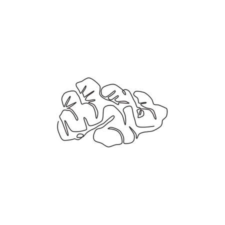 One single line drawing healthy organic ginger for farm logo identity. Fresh flowering plant rhizome concept herbaceous perennial icon. Modern continuous line draw design graphic vector illustration