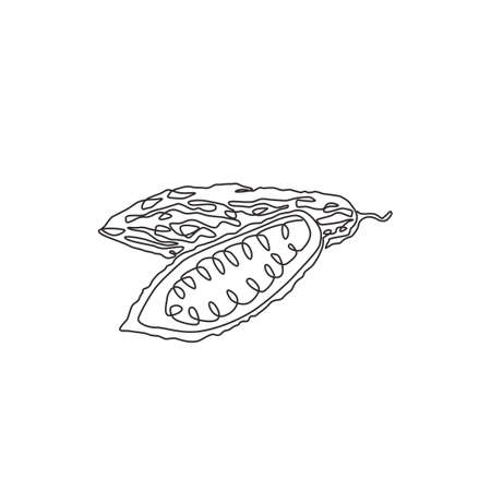 Single continuous line drawing of whole and sliced healthy organic bitter gourd for garden logo identity. Fresh Indonesian pare concept for veggie icon. Modern one line draw design vector illustration Logo
