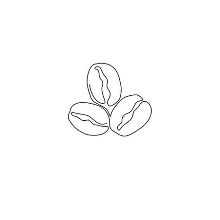 One single line drawing whole healthy organic coffee bean for restaurant logo identity. Fresh aromatic seed concept coffee drink icon. Modern continuous line draw graphic design vector illustration Иллюстрация