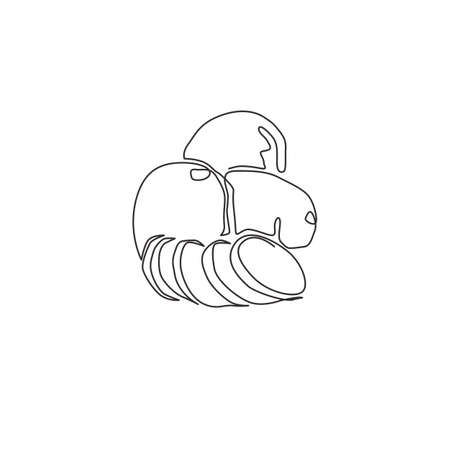 Single continuous line drawing of whole healthy organic spud potatoes for farm logo identity. Fresh food crop concept for vegan plantation icon. Modern one line draw design vector graphic illustration