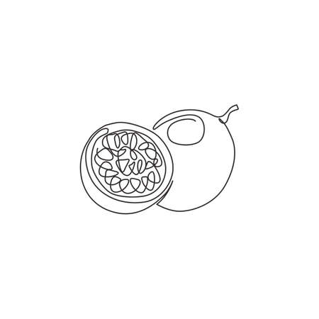 One single line drawing of whole healthy organic passion fruit for orchard logo identity. Fresh tropical fruitage concept for fruit garden icon. Modern continuous line draw design vector illustration