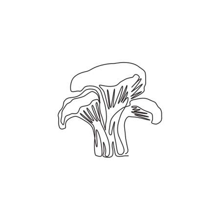 One continuous line drawing of whole healthy organic mushrooms for farm logo identity. Fresh toadstool concept for vegetable icon. Modern single graphic line draw design vector illustration