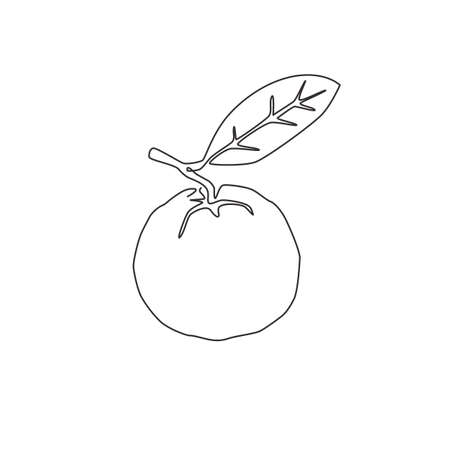 One continuous line drawing whole healthy organic java guava for orchard logo identity. Fresh exotic fruitage concept for fruit garden icon. Modern single line draw design vector graphic illustration