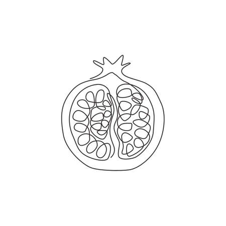 One single line drawing of half sliced healthy organic pomegranate for orchard logo identity. Fresh  fruitage seed concept for fruit garden icon. Modern continuous line draw design vector illustration Stock Illustratie