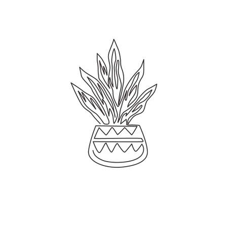 Single continuous line drawing of potted snake plant for home decor logo identity. Fresh evergreen perennial plant concept for  plant icon. Modern one line graphic draw design vector illustration Ilustrace