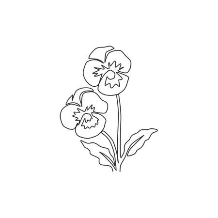 One continuous line drawing beauty fresh violet hybrid plant for home art wall decor print poster. Printable decorative pansy flower for green park. Single line draw design vector graphic illustration Vettoriali