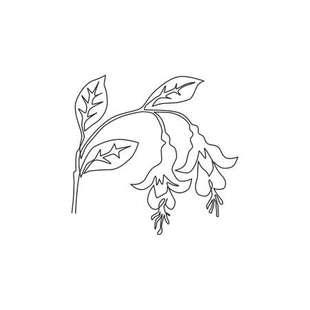 One continuous line drawing of beauty fresh fuchsia for home wall decor poster print art. Decorative shrubs flower plant concept for invitation card. Trendy single line draw design vector illustration Çizim