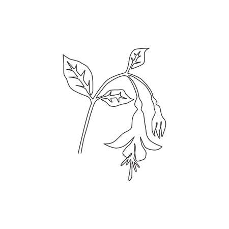 Single one line drawing beauty fresh fuchsia for garden logo. Decorative of shrubs flowering plant concept for home decor wall art poster print. Modern continuous line draw design vector illustration