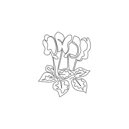 Single one line drawing beauty fresh cyclamen for garden logo. Decorative perennial flowering plant concept for home decor wall art poster print. Modern continuous line draw design vector illustration