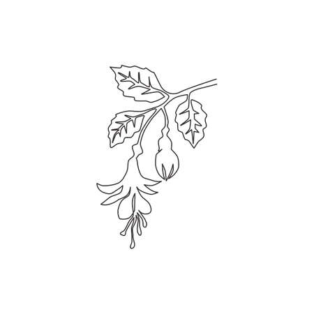 Single continuous line drawing of beauty fresh fuchsia flower for home decor wall art poster print. Decorative shrubs plant for floral invitation card. Modern one line draw design vector illustration