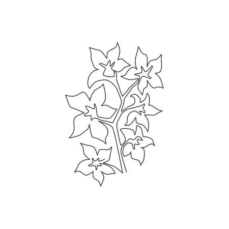 Single continuous line drawing beauty fresh larkspur for home decor wall art print poster. Decorative consolida perennial flower for invitation card. Modern one line draw design vector illustration Ilustrace