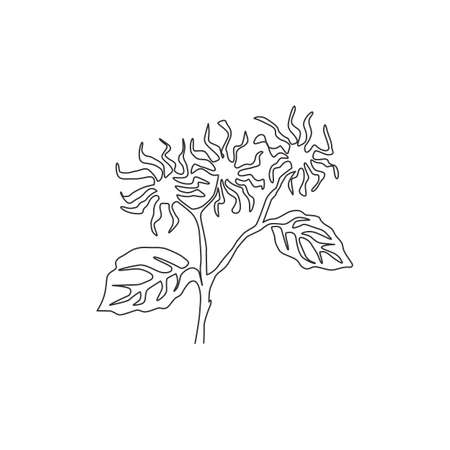Single one line drawing beauty fresh witch hazels for garden logo. Decorative of winterbloom flower concept for home wall decor art poster print. Modern continuous line draw design vector illustration