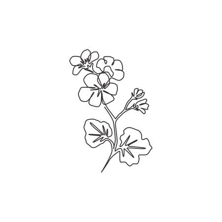 One continuous line drawing beauty fresh geranium for wall decor home print art poster. Printable decorative cranesbills flower concept for card ornament. Tingle line draw design vector illustration Ilustração