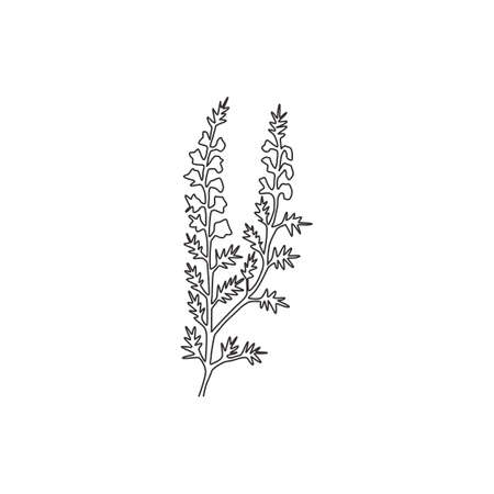 Single continuous line drawing beauty fresh heather for home decor wall art poster print. Decorative calluna vulgaris flower for floral invitation card. Modern one line draw design vector illustration