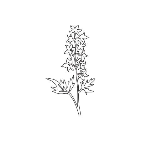 Single one line drawing beauty fresh larkspur for garden logo. Decorative of  perennial delphinium concept for home wall decor art poster print. Modern continuous line draw design vector illustration