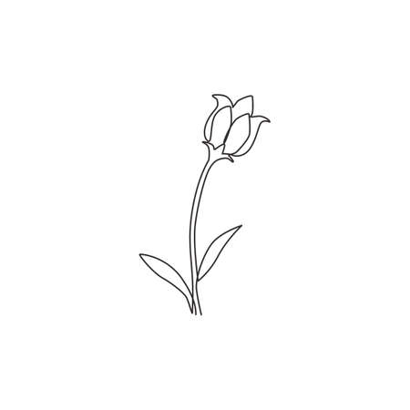 One continuous line drawing beauty fresh bulbous perennial plant for home wall decor art poster print. Decorative bluebell flower for wedding card. Modern single line draw design vector illustration