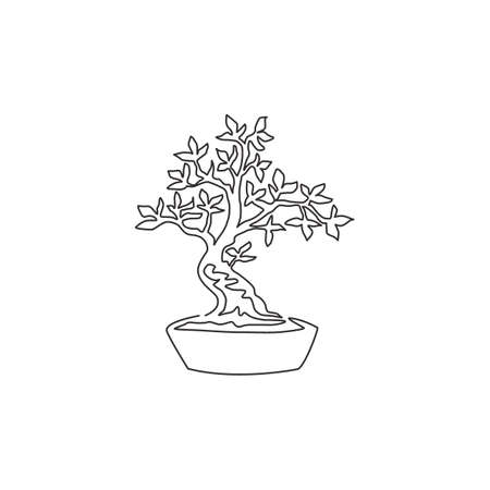 One continuous line drawing beauty and exotic bonsai tree for home wall decor art poster print. Decorative ancient potted bonsai plant for plant shop logo. Single line draw design vector illustration