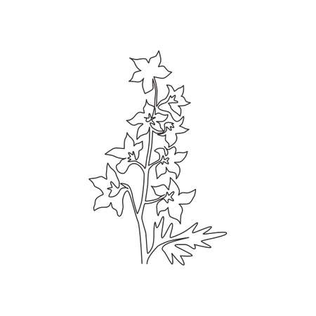 One continuous line drawing beauty fresh larkspur for home decor wall art poster print. Decorative perennial flower delphinium for wedding invitation card. Single line draw design vector illustration