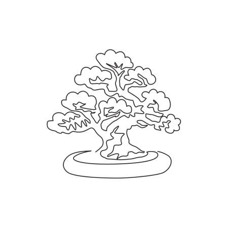 Single one line drawing old beauty exotic mini bonsai tree for home wall art decor poster. Decorative potted banyan plant for exhibition display. Modern continuous line draw design vector illustration Vektorové ilustrace