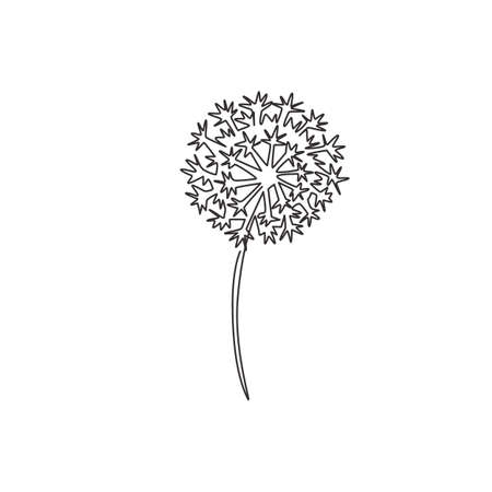 Single continuous line drawing beauty fresh taraxacum for home wall decor art poster print. Printable decorative dandelion flower for invitation card. Modern one line draw design vector illustration