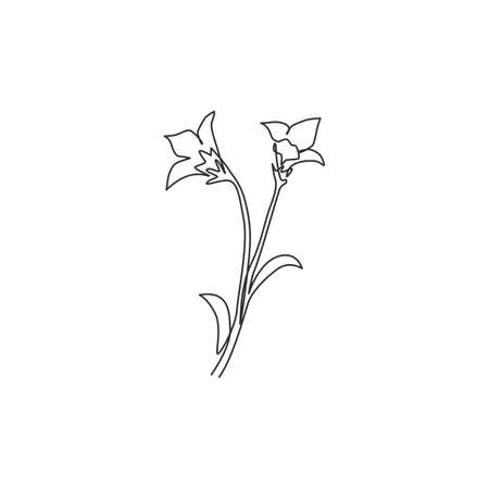 One single line drawing beauty fresh bulbous perennial plant for home decor wall art poster print. Printable decorative bluebell flower concept. Modern continuous line draw design vector illustration