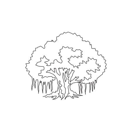 Single one line drawing of big shady and beauty leafy banyan tree. Decorative ficus benghalensis plant concept for national park logo. Modern continuous line draw design vector graphic illustration