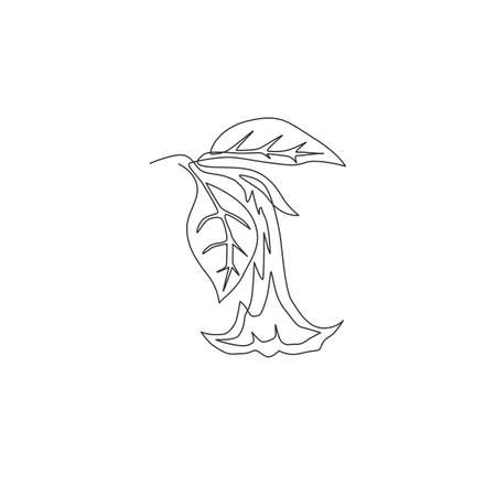 Single continuous line drawing of beauty fresh brugmansia for wall decor home art poster print. Decorative angel trumpet flower for greeting card frame. Modern one line draw design vector illustration