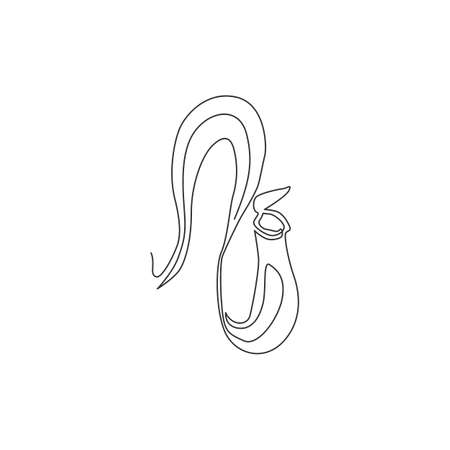 Single one line drawing beauty fresh nepenthes for garden logo. Decorative of tropical pitcherplant concept for home wall decor art poster print. Modern continuous line draw design vector illustration 矢量图像