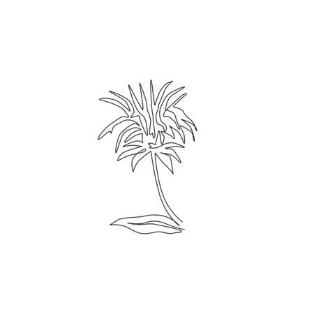 Single continuous line drawing of beauty fresh monarda for garden logo. Decorative horsemint oswago tea flower concept for floral invitation card frame. Modern one line draw design vector illustration