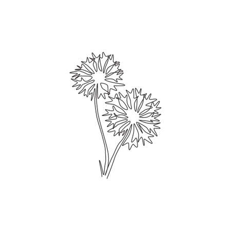 Single one line drawing of beauty fresh centaurea cyanusfor garden logo. Decorative cornflower concept for home decor wall art poster print. Modern continuous line draw design vector illustration