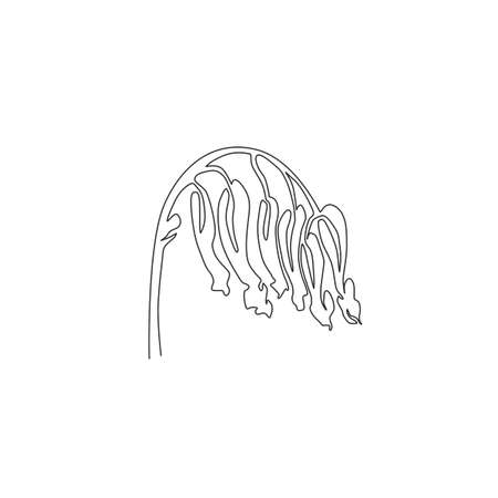 Single continuous line drawing beauty fresh perennial herbaceous plant for wall art home decor poster print. Decorative corydalis flower for floral card frame.One line draw design vector illustration Ilustrace