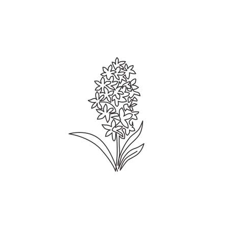 One continuous line drawing of beauty fresh hyacinthus for home wall decor poster art print. Decorative hyacinth flower concept for greeting card ornament. Single line draw design vector illustration