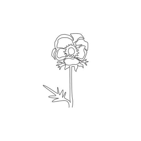 Single continuous line drawing of beauty fresh anemone flower for home wall decor art poster print. Decorative perennial windflower for invitation card. Modern one line draw design vector illustration