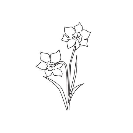 One single line drawing of beauty fresh narcissus for garden logo. Printable decorative daffodil flower concept for wedding invitation card. Trendy continuous line draw design vector illustration