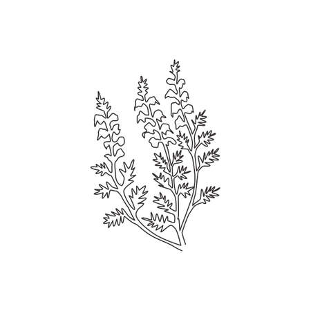 One continuous line drawing of beauty fresh common heather for home decor wall art poster print. Decorative calluna vulgaris flower for invitation card. Single line draw design vector illustration