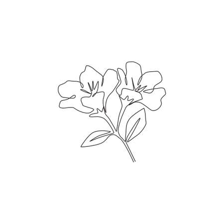 Single one line drawing of beauty fresh anemone flower for garden logo. Decorative perennial windflower for home wall decor poster print art. Modern continuous line draw design vector illustration Ilustrace