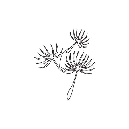 One continuous line drawing of beauty fresh taraxacum for home decor wall art poster print. Printable decorative dandelion flower concept for greeting card. Single line draw design vector illustration